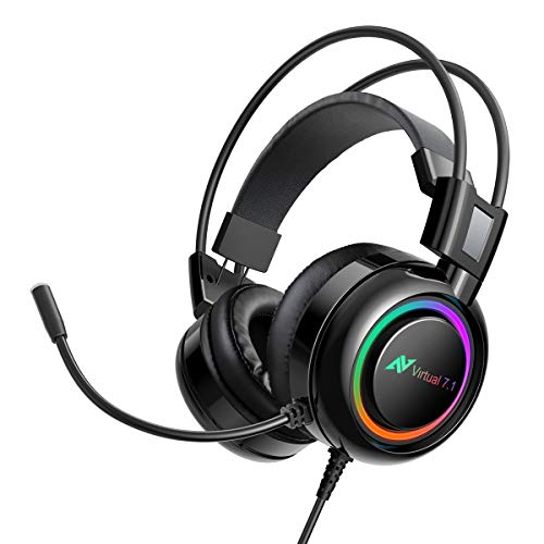 ABKONCORE Gaming Headset for PS4, PC, Laptop, PS4 Gaming Headset with Noise Canceling Microphone 7.1 Virtual Surround Sound, Gaming Headphones with Bass Vibration, RGB LED Lights, On Ear Controller