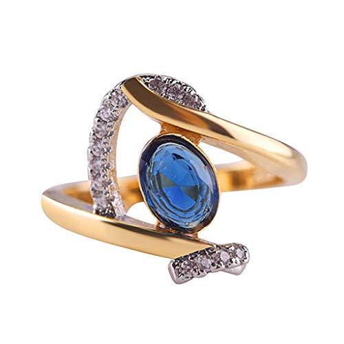Yukong Women Pre Engagement Ring, Oval Sapphire Rhinestone Dressing Ring