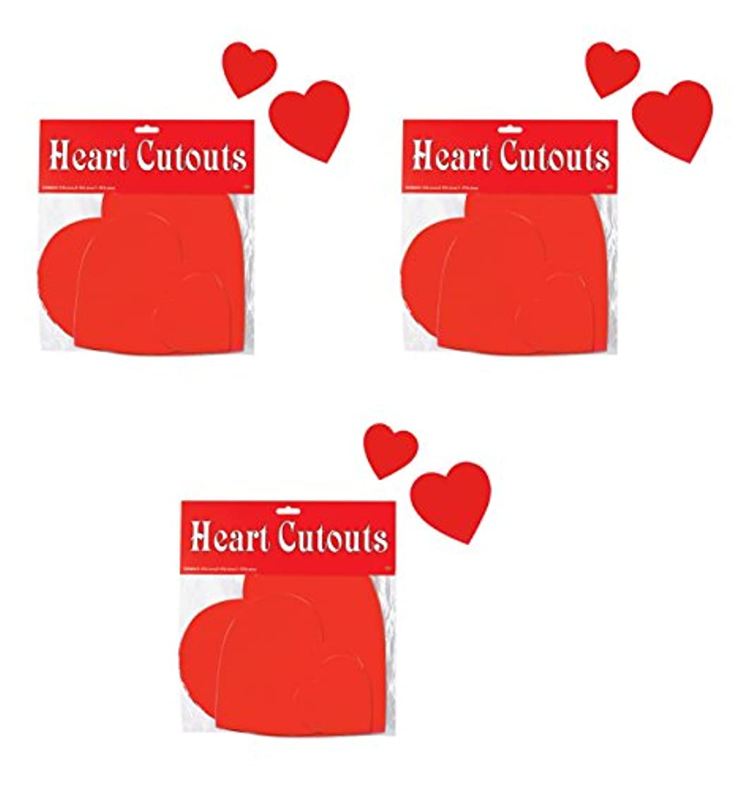 Beistle S77866AZ3 Printed Heart Cutouts Assorted Sizes (Red), Pack of 27
