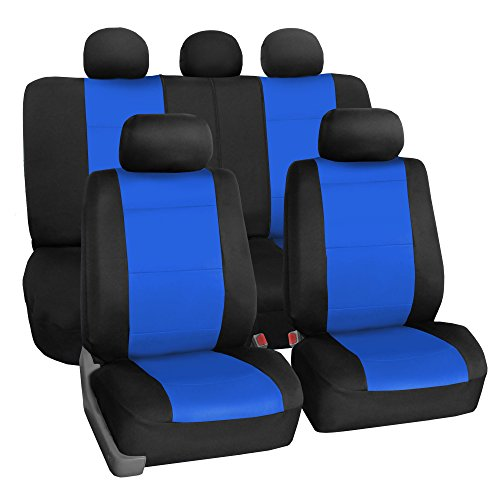 FH Group FB083BLUE115 Full Set Seat Cover (Neoprene Waterproof Airbag Compatible and Split Bench Blue)