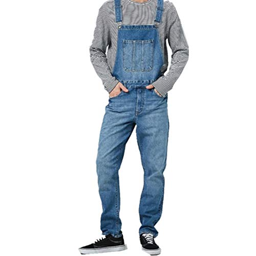 CCDYLQ Retro Denim Blue Männer Jeans-Latzhose Lange Jeanshosen Overall, dünner Sitz Street Stonewashed Rip Arbeit Hosen-Overall Fit Big König All Taille 30W-37W,B,XXL