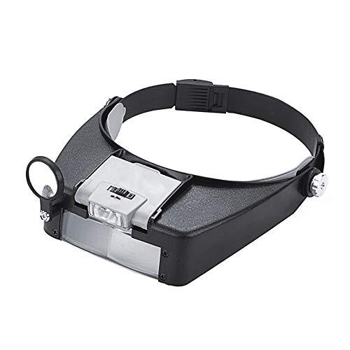 PHOEWON Vergrößerungsglas Stirnband Lupe Hände Frei Kopflupe Lupenbrille LED Juwelierlupe für Brillenträger, Schmuck, Diamant, Briefmarken, Zahnarzt