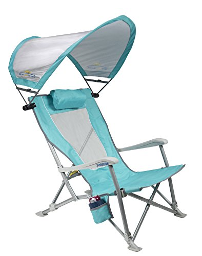 GCI Outdoor Waterside SunShade Folding Beach Recliner Chair with Adjustable SPF Canopy