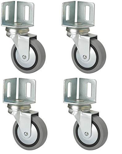 4 Stück Möbelrolle 40 mm mit Winkelplatte Gummi grau Lenkrolle Transportrolle Winkelblech Eckplatte