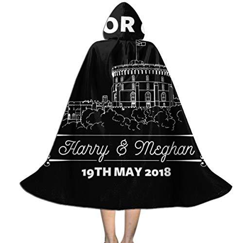 NUJSHF Royal Wedding Windsor Castle Harry and Meghan Unisex Kapuzenumhang Umhang Umhang Cape Halloween Weihnachten Party Dekoration Rolle Cosplay Kostüme