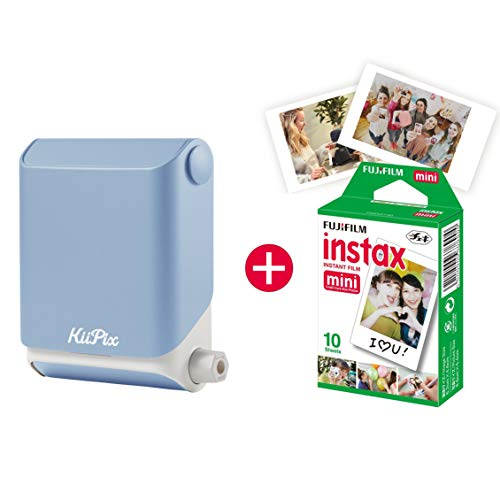 KiiPix Fotodrucker Sky Blue, Smartphone Kompatibler Sofort-Fotodrucker, Mit Fujifilm Instax Mini Starterpaket, Polaroid- Bilder,Minidrucker fürs Handy, Gadgets fürs Smartphone
