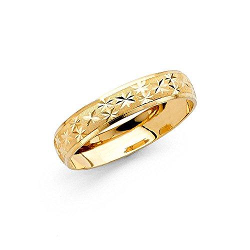 Wedding Ring Solid 14k Yellow Gold Milgrain Band Diamond Cut Star Mens Womens Dome Satin Finish 4 mm Size 6.5