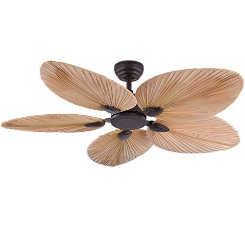 52 '' Ventilador de techo europeo Luz Hoja de palma Hoja Conversión de frecuencia Ventilador Hotel Engineering Decoración Ventilador marrón Ventilador de techo