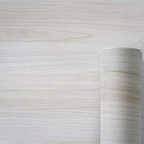 AWNIC Vinilo Papel Adhesivo para Muebles Grano de Madera Blanco/Muebles Pegatinas Impermeable a Prueba de Aceite para el Forro de los Muebles/Armario Mesa Baño Cocina Decoración 300x40cm