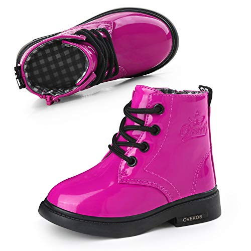 Botas Bebe Niñas Botines Niña Impermeable Cuero Martin Botas de Invierno Niñas Niños Cordones Antideslizante Transpirable Zapatos Rosa Rojo con Felpa 22 EU