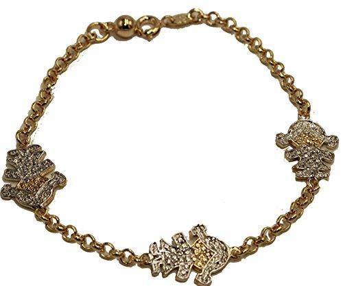 Diamantados of Florida - Pulsera chapada en Oro de 18 Quilates, 19 cm, para niñas
