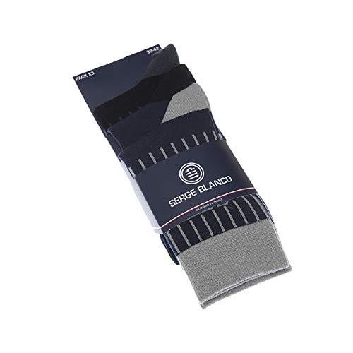 Serge Blanco Socke kurz - 3 pack - Flachnaht - Originell - Coton - Multicolore 168A/ROSSO - 43/46