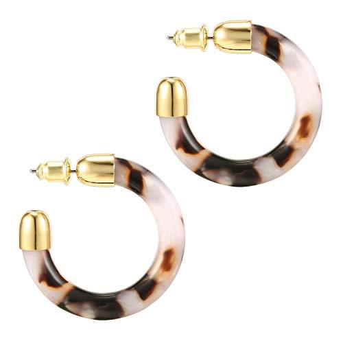 PAVOI 14K Gold Plated Acrylic Acetate Hoop Earrings for Women - White Statement Earrings |...