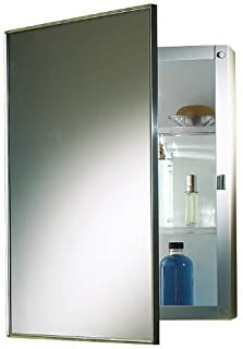 PROPLUS 592047 Recessed Swing-Door Medicine Cabinet with Polished Stainless Steel Frame, 16
