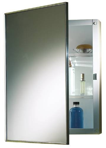 PROPLUS 592047 Recessed Swing-Door Medicine Cabinet with Polished Stainless Steel Frame, 16″ x...