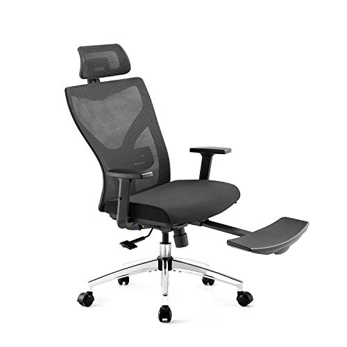 Ergonomic Office Chair, High Back Desk Chair with Adjustable Lumbar Support & Thick Seat Cushion, 135°Reclining & Rocking Mesh Computer Chair with Footrest, Adjustable Headrest, Armrest (Black)