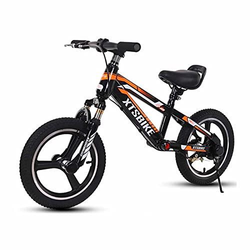 HWF Bicicleta Sin Pedales Niños Bicicleta de Equilibrio con Freno y reposapiés, Adulto Niño Grande 14/16 Pulgadas Principiante Sin Pedal Bicicleta para Caminar para 4,5,6,7,8,9 años, Carga 150kg
