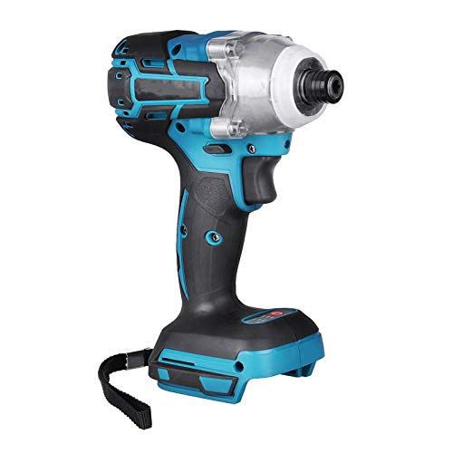 High quality 18V Cordless Electric Screwdriver Speed Brushless Impact Wrench Rechargable Drill Driver LED Light Battery for Easy Carrying (Color : Black+blue)