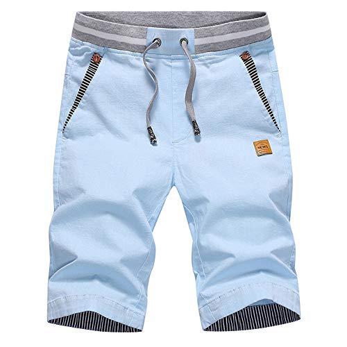 JustSun Kurze Hosen Herren Shorts Sommer Bermuda Shorts Chino Baumwolle mit Tunnelzug Himmelblau L