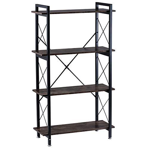 BOTONE Breites Regal, Bücherregal, Standregal mit Vier Böden in rustikaler Holz-Optik und stabilem schwarzen Metallrahmen; perfekt für Wohnzimmer, Schlafzimmer, Flur oder Bad; (80x35x140cm)