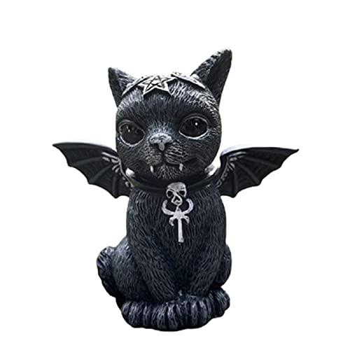 KUYG Magic Cat Statues Kunstharz Kunsthandwerk Desktop Ornament Figuren für Halloween Dekorationen Lustige Outdoor Garten Statue