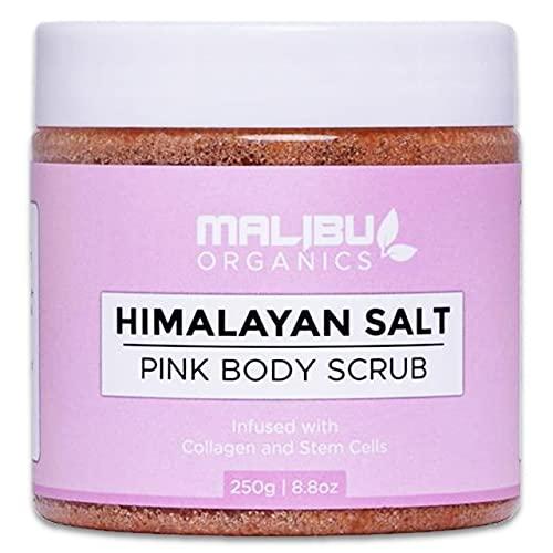 Malibu Organics Himalayan Scrub – All-Natural Body Exfoliant with Collagen and Stem Cells - Organic Body Scrub to Exfoliate and Moisturize Skin – Deep Cleansing Himalayan Pink Salt Scrub – 8.8oz