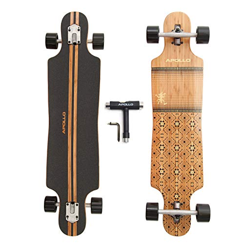 """APOLLO Longboard for Professionals and Beginners; Long Board for Kids, Teens and Adults; Freeride Skateboard Cruiser and Downhill Longboards - 40"""" 7 Layers Bamboo - Nuku Hiva"""