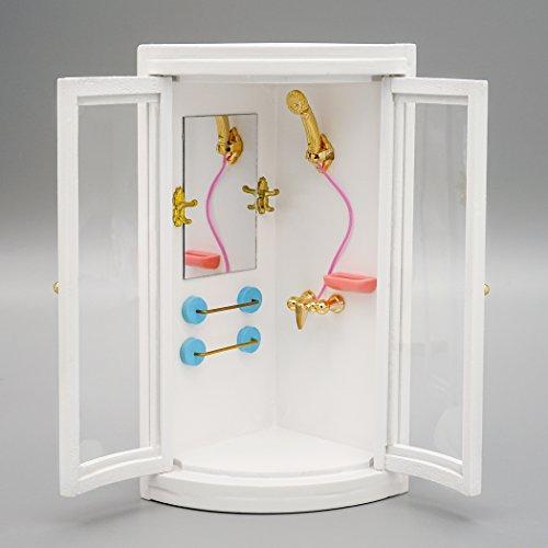 Odoria 1/12 Miniatur Komplettdusche Duschtempel Puppenhaus Dekoration Zubehör