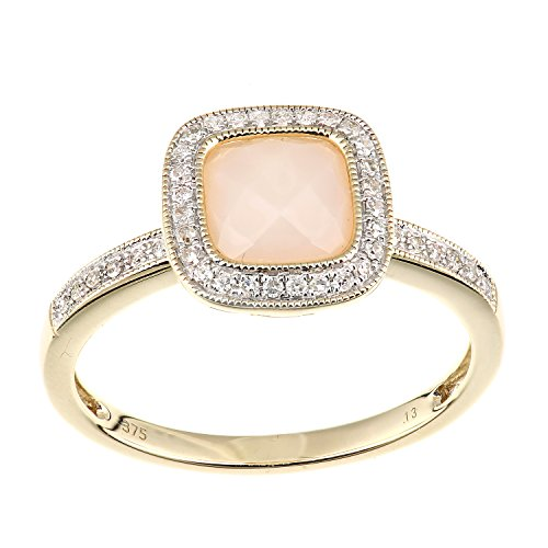Naava Women's 9 ct Yellow Gold Diamond and Pink Opal Ring, Square Cut Gemstone, Size - K