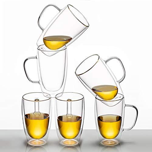 MEWAY - Tazas de café aisladas de 473 ml, tazas de té de cristal, tazas de café de doble pared, tazas de té, tazas de café con leche, vasos de café, vasos de cerveza, tazas...