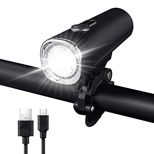 Parti Fahrradlicht Vorne,50Lux Led Fahrrad Licht Wiederaufladbares, Akku Fahrradbeleuchtung Vorne USB,Aufladbare FahrradlampeVorne StVZO Zugelassenes2600mh Beleuchtung Fahrrad IPX5 Wasserdicht