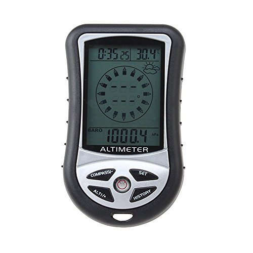 8 en 1 altimetro digital - TOOGOO(R)8 en 1 Funcion Digital LCD Compas Altimetro Barometro Termico Temperatura (Negro)