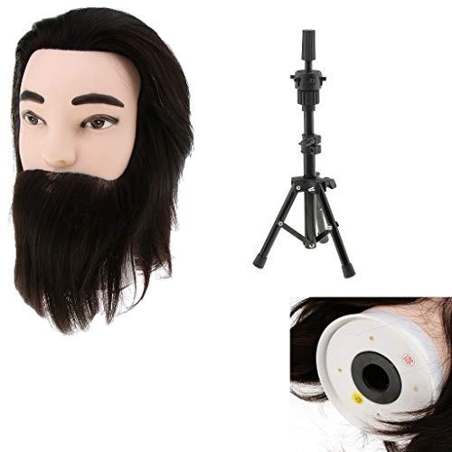 Homyl Têtes d'exercice Tête À Coiffer Homme Coiffure et Barbe Cosmétologie Pratique Mannequin Poupée 100% de Cheveux Synthétiques et Support Trépied