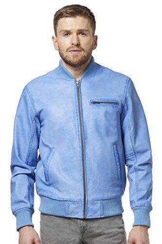 Smart Range 275-Z 70's Classic Bomber Men's Blue Crust Napa Biker Style Italian Fitted Real Leather Jacket (S)