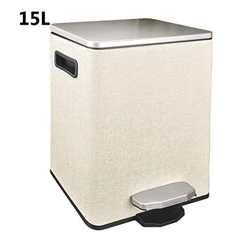 WW&TT Cubo De Residuos De Pedal De Cuero Moderno,Gran Cocina Basura Cubo Puede Basura,Madera-basurero De Grano para La Oficina En El Hogar,Lata Rectangular De Basura con Tapa D 15l