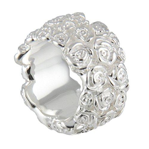 massiver Rosenring hochwertige Goldschmiedearbeit aus Deutschland (Sterling Silber 925 anlaufgeschützt) 17 mm breit, Rosen Ring, Damen Ring, Blüten Ring, Blumen Ring