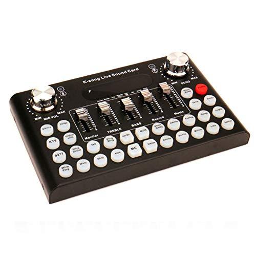 YPJKHM Tarjeta de Sonido en Vivo portátil -F007 teléfono móvil Tarjeta de Sonido en Vivo Set K canción con Tarjeta de Sonido Bluetooth-Black