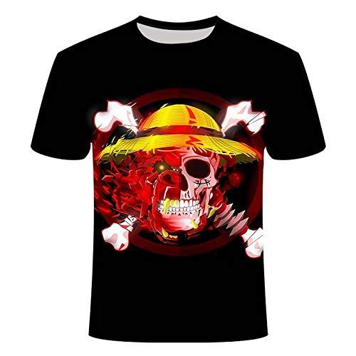 TJJS Camiseta de Verano con impresión 3D, Camiseta de Grupo de Sombrero de Paja de Anime, Camiseta Informal Holgada para Hombre, Ropa para Hombre, Camiseta fresca-2XL