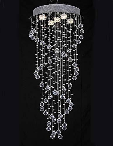 Doppelspiraliger moderner Kristallleuchter, JJGD Clear K9 Crystal Droplet Brilliant Deckenleuchte Unterputz Chrom Pendelleuchte für Esszimmer/Wohnzimmer Schlafzimmer Treppe Hotel, Größe D40cm H90cm