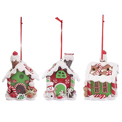 jojofuny 3Pcs Ornamento Di Natale Mini Casa Statuette In Resina Luce Up di Natale Albero Di Natale Ornamenti per Il FAI DA TE Di Natale Craft Giardino Micro Paesaggio Accessori