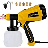 YATTICH Paint Sprayer, 700W High Power HVLP Spray Gun with 5 Copper Nozzles & 3 Patterns, Easy to Spray and Clean, for Furniture, Cabinets, Fence, Railing, Garden Chairs etc. YT-201-A (Yellow)
