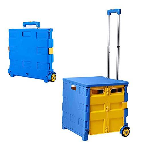 YXYXX Handwagen mit 2 Rädern, großvolumiger Sitz aus klappbarem Kunststoff, rollbarer Mehrzweckwagen (gelb, blau) / L(65l)