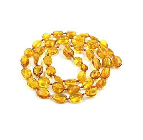 Amber Jewelry Shop Collar de ámbar báltico auténtico de perlas de ámbar natural pulidas (48 cm), color marrón