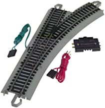 Bachmann Trains - Snap-Fit E-Z TRACK REMOTE TURNOUT - RIGHT (1/card) - NICKEL SILVER Rail With Gray Roadbed - HO Scale