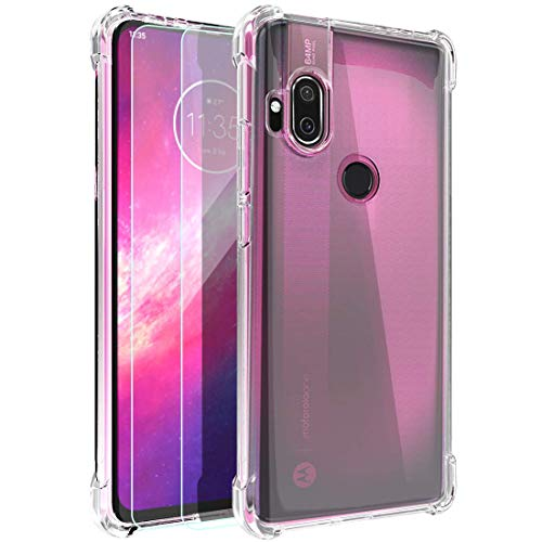 Moto One Hyper Case, Androgate Clear Transparent Slim Soft TPU Shock-Absorption Cover Bumper Case with Tempered Screen Protectors for Motorola Moto One Hyper