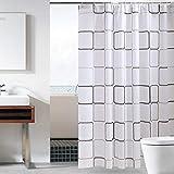 Sosila Duschvorhang, Anti-Schimmel, PEVA Duschvorhang, wasserdicht, Schimmelresistent, Wasserabweisend, Anti-Bakteriell, inklusive 12 Ringe Duschvorhanghaken (150 x 180 cm)