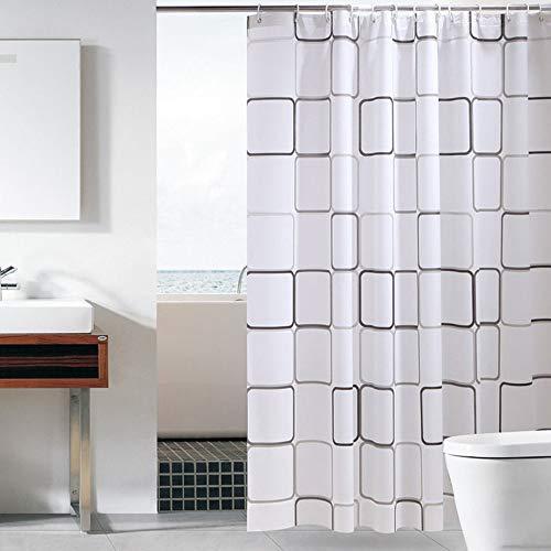 Sosila Duschvorhang, Anti-Schimmel, PEVA Duschvorhang, wasserdicht, Schimmelresistent, Wasserabweisend, Anti-Bakteriell, inklusive 12 Ringe Duschvorhanghaken (120 x 180 cm)