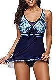 Womens One Piece Swimsuits for Women Tummy Control Swimwear Swimdress Slimming Bathing Suit Dress Blue Swim Dress 2X-Large fits Like US 16-18