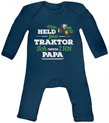 Vatertag Landwirt Trecker Baby Strampler Langarm Schlafanzug Jungen Mädchen Papa - Mein Held fährt Traktor, Größe: 3-6 Monate,Nautical Navy