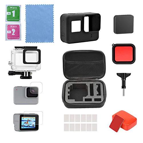 Linghuang Accessoires Étui de Transport pour GoPro Hero 7 (Black) GoPro Hero 6 Hero 5, avec étui étanche, Protecteur d'écran, Protecteur en Silicone, Mousse Flottante pour GoPro Hero